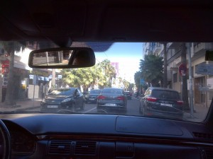 About the town in a taxi